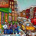 Home Town Painting St Viateur Bagel Street Scene Coca Cola Truck Montreal 375 Carole Spandau Art     by Carole Spandau