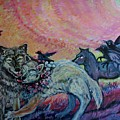 Homecoming Wolves And Ravens by Susan Brown    Slizys art signature name