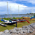 Homemade Outriggers Canoes On The Indian River Lagoon In Florida by Allan  Hughes