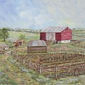 Homeplace - The Barn And Vegetable Garden by Judith Espinoza