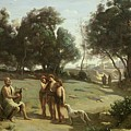 Homer And The Shepherds In A Landscape by Jean Baptiste Camille Corot