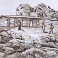 Homestead On Brush Creek Historical Vignette by Dawn Senior-Trask
