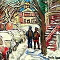 Original Art For Sale Montreal Petits Formats A Vendre Walking To School On Snowy Streets Paintings by Carole Spandau
