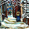 Buy Original Paintings Montreal Petits Formats A Vendre Scenes Man Shovelling Snow Winter Stairs by Carole Spandau