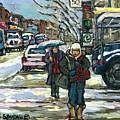Rue Cote St Catherine Peintures Petit Format A Vendre Scenes De Ville Montreal Street Scenes  by Carole Spandau