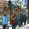 Promenade Au Centre Ville Rue Ste Catherine Montreal Winter Street Scene Small Paintings  For Sale by Carole Spandau