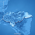 Honduras Country 3d Render Topographic Map Blue Border by Frank Ramspott