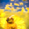 Honey Bee Mountain Daisy Impressionism Study 2 by Scott Campbell