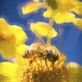 Honey Bee Mountain Daisy Impressionism Study 3 by Scott Campbell