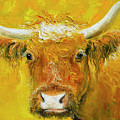 Horned Cow Painting by Jan Matson