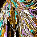Horse Abstract Brown And Blue by Saundra Myles