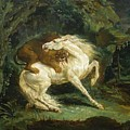 Horse Attacked By A Lion by Gericault Theodore