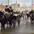 Horse Drawn Carriages And Women On Horseback Riding Sidesaddle O by Reimar Gaertner