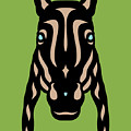 Horse Face Rick - Horse Pop Art - Greenery, Hazelnut, Island Paradise Blue by Manuel Sueess