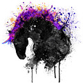 Horse Head Watercolor Silhouette by Marian Voicu