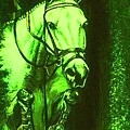 Horse Painting Jumper No Faults Deep Greens by Bets Klieger