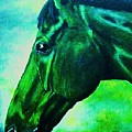 horse portrait PRINCETON blue green by Bets Klieger