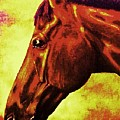 horse portrait PRINCETON purple brown yellow by Bets Klieger