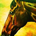 horse portrait PRINCETON yellow by Bets Klieger
