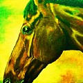 horse portrait PRINCETON yellow green by Bets Klieger