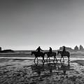 Horseback Storytelling Black And White by Mark Kiver