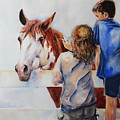 Horses And Children Painting by Maria's Watercolor