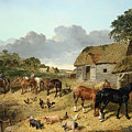 Horses Drinking From A Water Trough, With Pigs And Chickens In A Farmyard by John Frederick Herring Jr