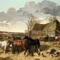 Horses Eating From A Manger, With Pigs And Chickens In A Farmyard by John Frederick Herring Jr