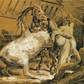 Horses Fighting In A Stable by Theodore Gericault