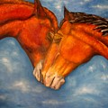 Horses In Love.oil Painting by Natalja Picugina