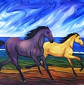 Horses Running On The Beach by Dianne  Connolly