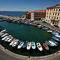 Horseshoe Pattern Of Moored Boats At The Inner Harbour Of Piran  by Reimar Gaertner