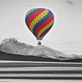 Hot Air Balloon And Longs Peak - Black White And Color by James BO Insogna