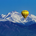 Hot Air Balloon Over Mountains by Teri Virbickis