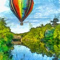 Hot Air Balloon Woodstock Vermont Pencil by Edward Fielding