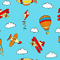 Hot Air Balloons And Airplanes Fly In The Sky by Long Shot
