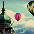 Hot Air Balloons Float Over Lewiston Maine by Bob Orsillo