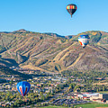 Hot Air Balloons Over Park City In Autumn by James Udall