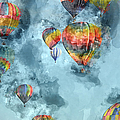 Hot Air Balloons Digital Watercolor On Photograph by Brandon Bourdages