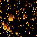 Hot Air Lanterns In Sky by Daniel Osterkamp