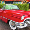 Hot Red 1955 Cadillac Convertible by Peggy Collins