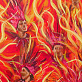 Hot Samba II Triptyche Middle Panel by Leigh Banks