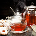 Hot Steaming Tea With Christmas Biscuits by Wolfgang Steiner