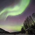 House, Aurora, Night Sky At Alaska, Fairbanks by Chon Kit Leong