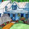 House Fence And Flowers by Linda Marcille