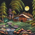 House In Night At Beautiful Site by Pisces Art Word