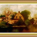 House Near The River. L B With Decorative Ornate Printed Frame. by Gert J Rheeders