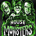 House Of Monsters Frankenstein Dracula Phantom Horror Movie Art by Scott Jackson