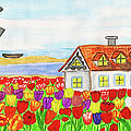 House With Tulips  In Holland Painting by Irina Afonskaya