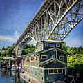 Houseboat And Aurora Bridge Seattle by Joan McCool